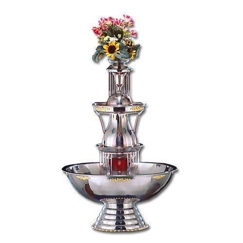 Apex 4051-SS Aristocrat 10 Gallon SS Beverage Fountain with Silver Bow Tie Trim, Statue & Waterfall Set