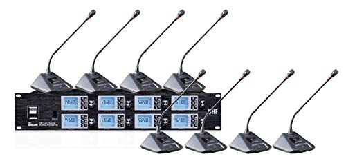- Boly 8800S UHF8 Channel Wireless Microphone System - Portable UHF Cordless Audio Mic Set with 1/4