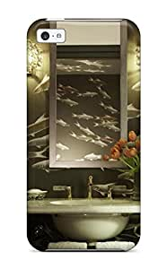 Premium Powder Room With De Gournay And Brass Accents Heavy-duty Protection Case For Iphone 5c