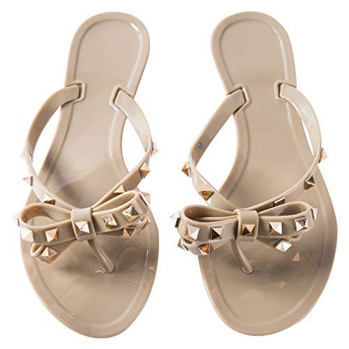 Mtzyoa Women Stud Bow Flip-Flops Sandals Beach Flat Rivets Rain Jelly Shoes (9.5, Dark Nude)