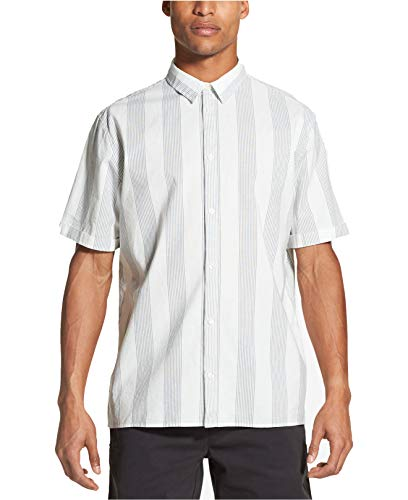 DKNY Mens Striped Cotton Button-Down Shirt Ivory S