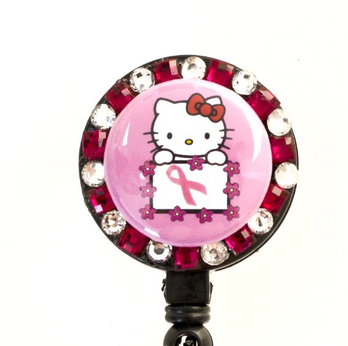 (Pink Ribbon/Breast Cancer Flower Lined Hello Kitty Rhinestone Retractable Badge Reel/ ID Badge)