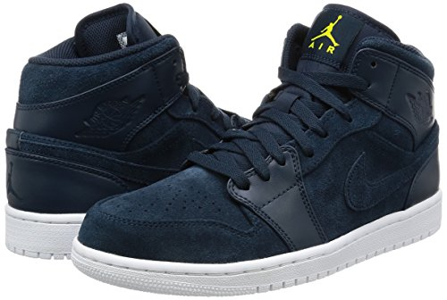 Nike Heren Air Jordan 1 Mid Basketbalschoen Arsenaal Marine Electrolime Wit