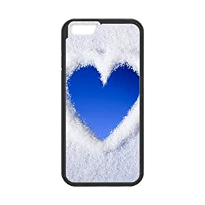 Vety Blue Love Heart of Snow IPhone 6 Plus Cases, {Black}
