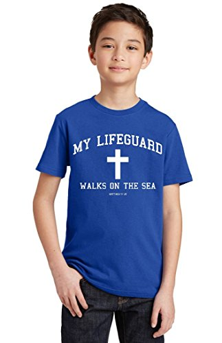 Promotion & Beyond P&B My Lifeguard Walks On The Sea Christian Youth T-shirt, Youth XL, Royal