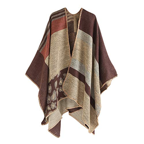 XUANOU Women Winter Thick Leopard Stripe Cashmere Scarf Shawl Wrap Cover Coat