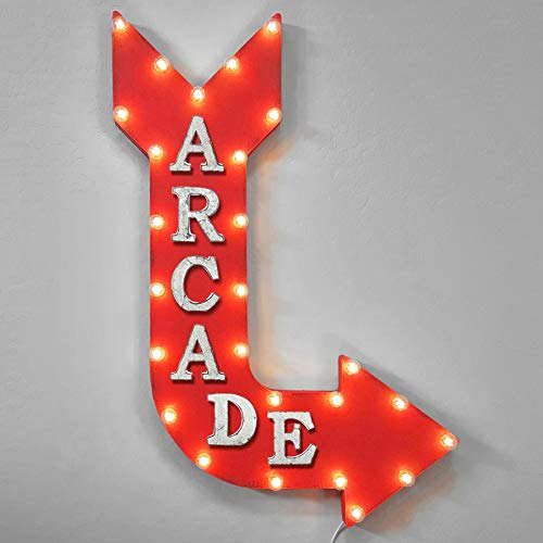 (Large PLUG-IN Rustic Metal ARCADE Game Play Room Marquee Light Arrow Sign - 14 COLOR OPTIONS!)
