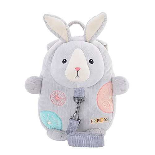 Me Too Kids Leash Bags Toddler Backpack with Safety Harness Playful Preschool Kids Diaper Bag for Little Children(12-36M) Gray Bunny by Me Too