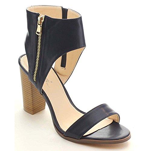 Miim Lea-01 Women's Single Front Strap Block Heel Slingback Sandals, Color:BLUE, Size:8