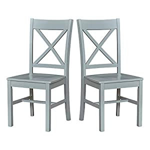 """Amazon Brand – Ravenna Home Solid Pine Dining Chair with Cutout Back, 38""""H, Gray Finish, Set of 2"""