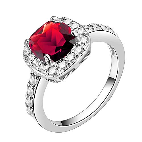 - Impression Collection Square Ruby Rings Wedding Party Statement CZ Cocktails Gold Plated Classic Fashion Size 5-10 (Red, 5)