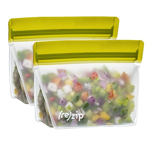 blueavocado-rezip-volume-1-cup-reusable-bag-with-colorful-closure-2-pack-in-moss-green