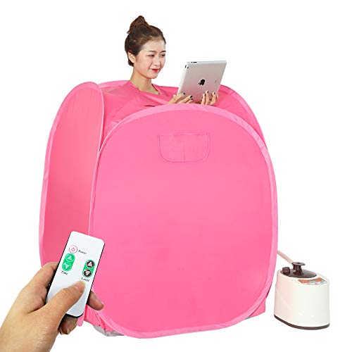 Smartmak Portable Steam Home Sauna Upgrade 2L Steamer, Lightweight Tent, One Person Full Body Spa for Weight Loss Detox Therapy (US Plug)-RED