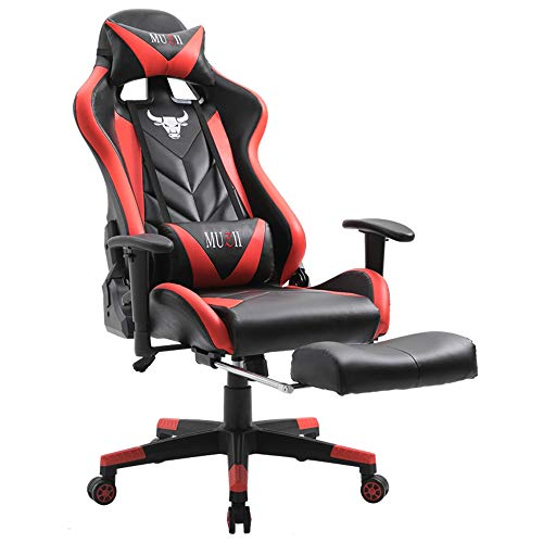 Muzii Gaming Chair Adjustable Reclining High-Back PU Leather Computer Gaming Chair Racing Style Swivel Video Game Chair with Footrest Lumbar Support and Headrest (Black Red)
