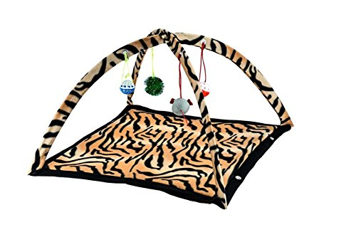 Pet Cat Kitten Activity Play Tent Letto Folgeble Pop Up Design Hanging Mouse Toy Ball Bells House Zebra Pattern Suible