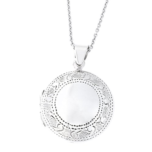 Etched Round Locket - Solid Sterling Silver Etched Round Locket Pendant Necklace, 18 Inches