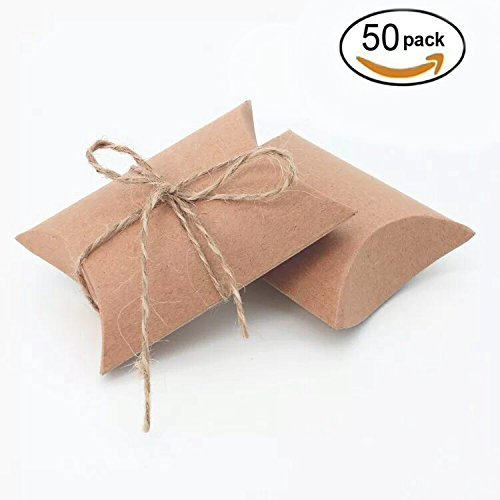 AWESON PARTY Vintage Kraft Paper Pillow Candy Box Thank You Treat Box Kit Rustic Gift Boxes with Twine for Wedding Favors Baby Shower Birthday Party Supplies, 50pc