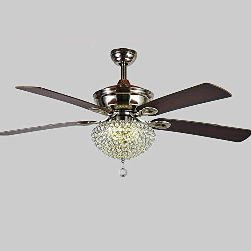 RainierLight Retro and Classic Crystal LED Light Ceiling Fan for Living/Bedroom Four Wood Leaf with Remote Control 52 Inch (Brushed Nickel)