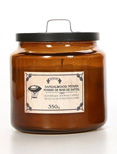 Hosley Floral Scent Sandalwood Myrrh Glass Jar Filled SOY Candle, 350 Grams/12.35 oz. Survival Candle, Ideal GIFT for Wedding, Party Favor, Bridal, Spa, Reiki, Meditation, Bathroom Settings P1