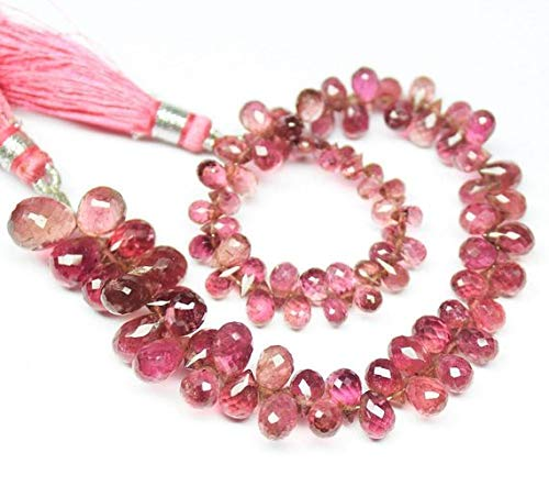 Beads Bazar Natural Beautiful jewellery Pink Tourmaline Micro Faceted Tear Drop Gemstone Loose Craft Beads Strand 8