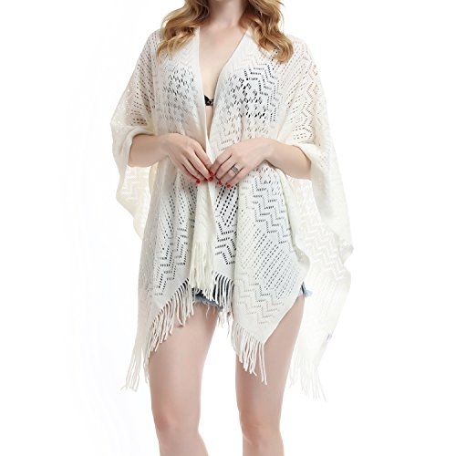 Knit Shawl Wrap for Women - Soul Young Ladies Fringe Knitted Poncho Blanket Cardigan Cape(One Size,Cream White)