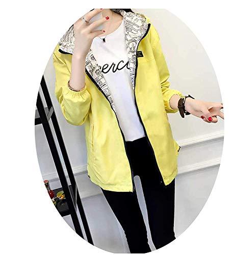 NVFZ Fashion Women Basic Jacket Pocket Zipper Hooded Two Side Wear Cartoon Print Outwear