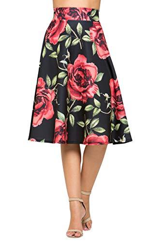 Junky Closet Women's A Line Knee Length High Waisted Skirt (Made in USA) (2X-Large, A20447TTAM BLK Rose)