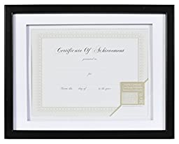 Gallery Solutions Wood Document Frame with Airfloat Mat, 11 by 14-Inch, Black