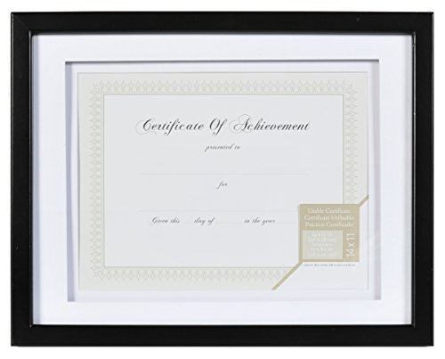 (GALLERY SOLUTIONS 11x14 Black Document Frame with Double White Mat for 8.5x11 Document or)
