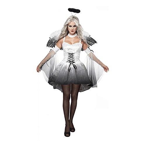 ZNFQC Adult Women's Halloween Dark Night Angel Costumes (Tv Characters Fancy Dress Ideas)