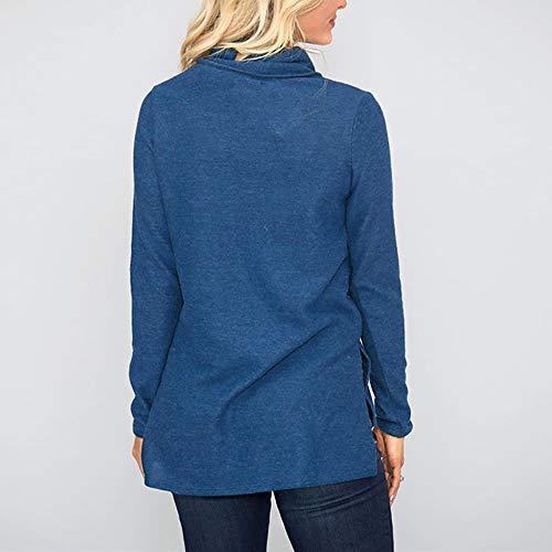 Collar Tops Sweatshirt XOWRTE Blouse Long Botton Pullover Fall Skew Blue Women's Sleeve pwxOqxREv