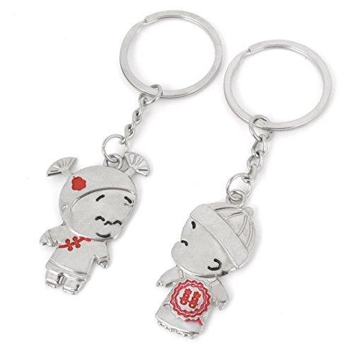 DealMux 2 Pcs Boy Kiss Girl Design Metal Keyring Keychain Pendant for - Kiss Boy Pendant