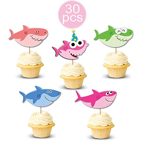 30 Cute Shark Baby Cake Topper Shark Family Cupcake Picks for Baby Shower Shark Theme Party Supplies Birthday Party Decorations ()