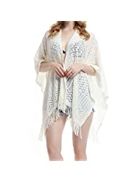 soul young Knit Shawl Wrap for Women Ladies Fringe Knitted Poncho Cardigan Cape