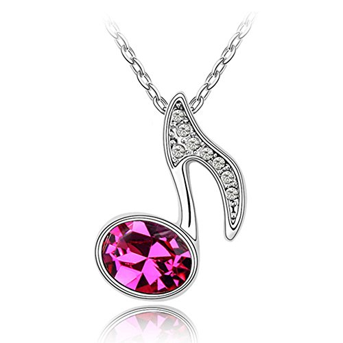 White Gold Plated Music Note with Oval Shaped Hot Pink Swarovski Elements Crystal Pendant Necklace Fashion Jewelry (Hot Pink) - Costume Jewelry Clip