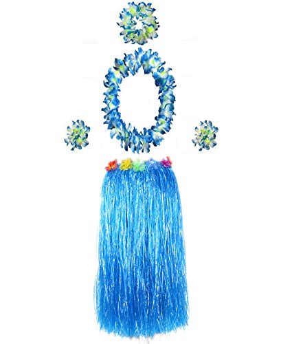(Hawaiian Luau Hula Grass Skirt Large Flower Costume Set Dance Performance Party Decorations Favors Supplies (32