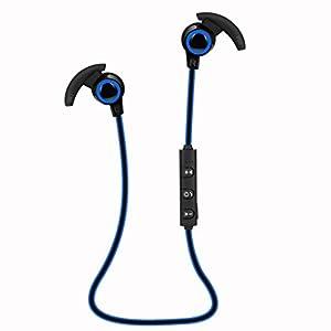 Aobiny Earphone Bluetooth 4.1 Wireless Headphone Stereo Sports Earbuds In-Ear Headset (Blue)