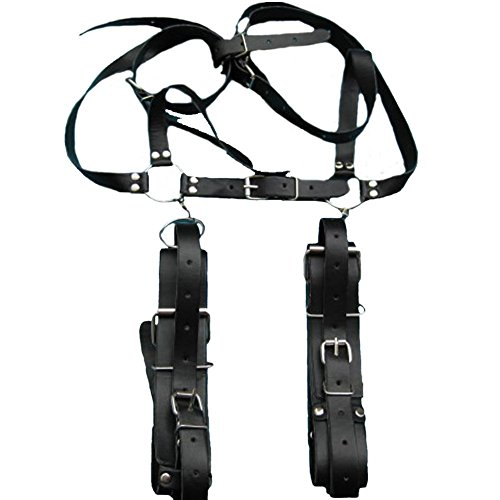 Akstore Black Leather Thighs Hands Restraint Sling Bound Bondage Unisex Spreader for Fetish Extreme Fun Sex Lover SM Game New Style Fantasy Deep & Easy Access Thigh Sling Spreader Leather Adjustable Slave Bondage Restraints Harness Extreme Sm Bdsms Toys S by Akstore