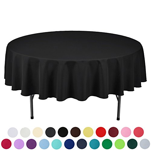 VEEYOO 90 inch Round Solid Polyester Tablecloth for Wedding Restaurant Party , Black