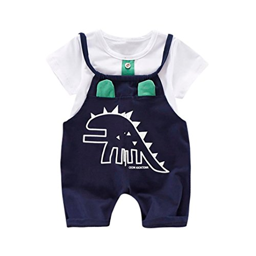 IEason Baby Clothes Newborn Toddler Baby Dinosaur Print T-Shirt Tops+Strap Pants Outfits Clothes Set (18-24 Months, Green) - Belted Charmeuse Top