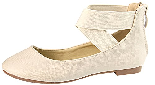 Bella Marie Womens Closed Round Toe Cross Over Ankle Strappy Ballet Flat Beige iHXhcyZXyg