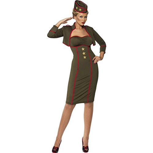 Smiffy's Women's Army Girl Dress, Green/Red/Gold, (Female Military Halloween Costumes)