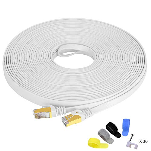 Cat 7 Ethernet Cable 75ft Shielded,Flat Ethernet Patch Cables - High Speed Internet Cable for Modem, Router, LAN, Computer - Compatible with Cat 5e,Cat 6 Network - White