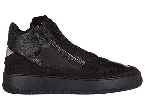 Hogan Rebel chaussures baskets sneakers hautes homme en cuir pure 86 noir