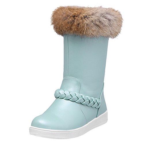 Latasa Womens Faux Fur Opening Braided Flat Snow Boots Light Blue O6upFijiU