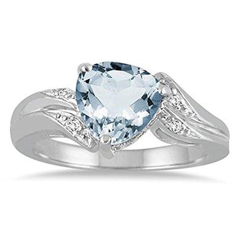 Silvercz Jewels 2.25 Carat Trillion Cut Aquamarine & Simulated Diamond Ring In 14K White Gold (Aquamarine Trillion Ring)
