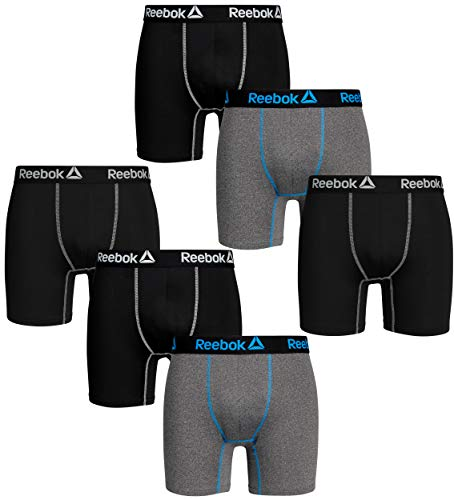 Reebok Mens 6 Pack Performance Anti-Microbial Boxer Briefs, Black/Charcoal/Black, Size X-Large'