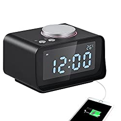 USB Alarm Clock, Digital Alarm Clock Radio - AKASO - Charging Alarm Clock, Snooze Function, 5 Dimmer, Indoor Thermometer, Phone Charger with Dual Port USB, Black