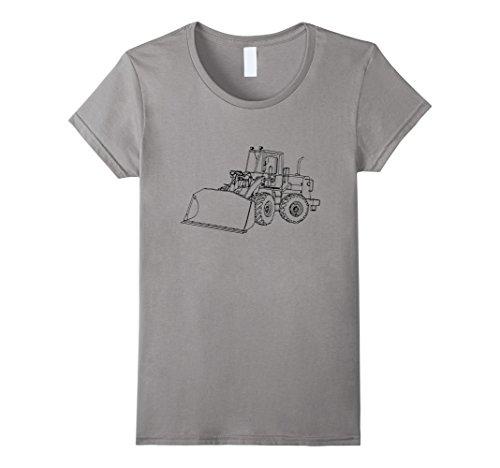 Loader Bulldozer (Womens Loader Driver T shirt Love Construction Bulldozer Boys Tee Medium Slate)