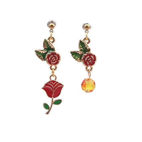 18K Gold Plated Vintage irregular Red Coral Carved Rose Flower Charm Drop Dangle Earrings (Coral Rose Flower Carved)